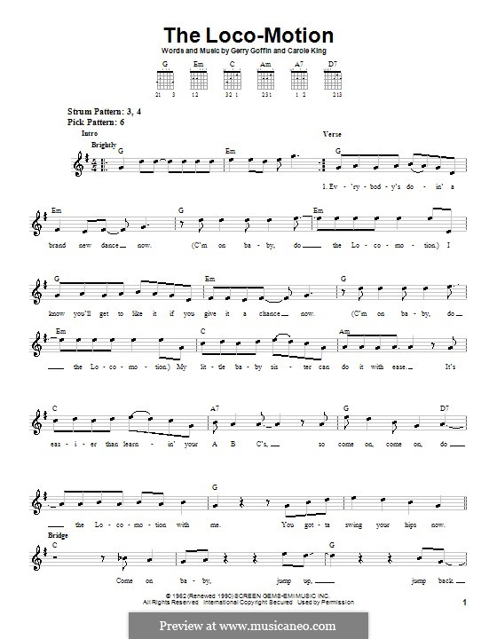 The Loco-Motion: Для гитары (легкий уровень) (Grand Funk) by Carole King, Gerry Goffin