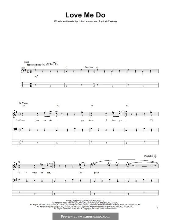 Love Me Do (The Beatles): Для бас-гитары с табулатурой by John Lennon, Paul McCartney