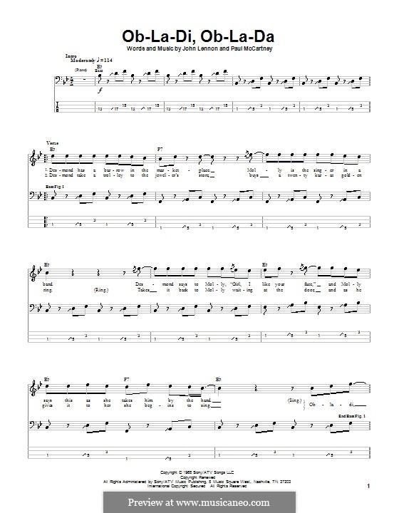 Ob-La-Di, Ob-La-Da (The Beatles): Для бас-гитары с табулатурой by John Lennon, Paul McCartney