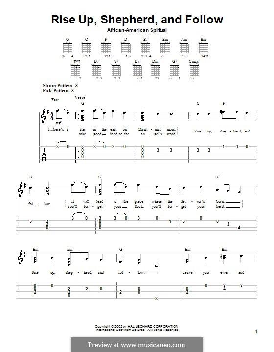 Rise Up, Shepherd, and Follow: Для гитары (очень легкая версия) by folklore
