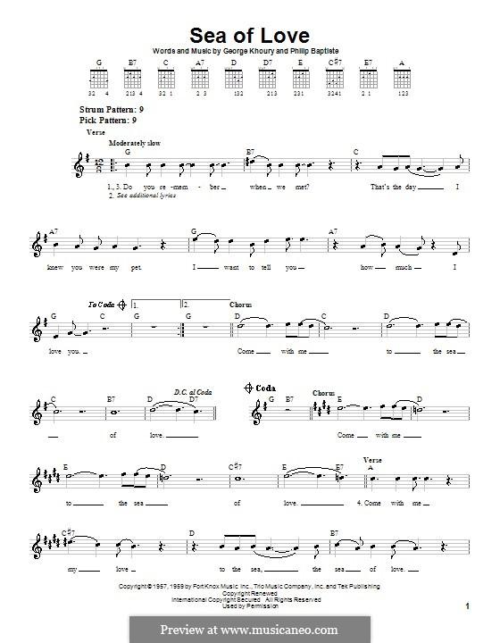 Sea of Love: Для гитары (очень легкая версия) by George A. Khoury, Phil Baptiste