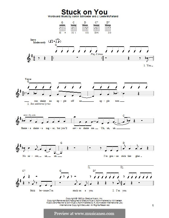 Stuck on You (Elvis Presley): Для гитары (очень легкая версия) by Aaron Schroeder, J. Leslie McFarland