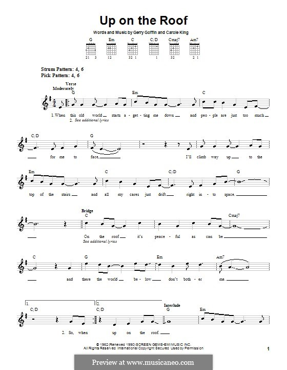 Up on the Roof (The Drifters): Для гитары (очень легкая версия) by Carole King, Gerry Goffin