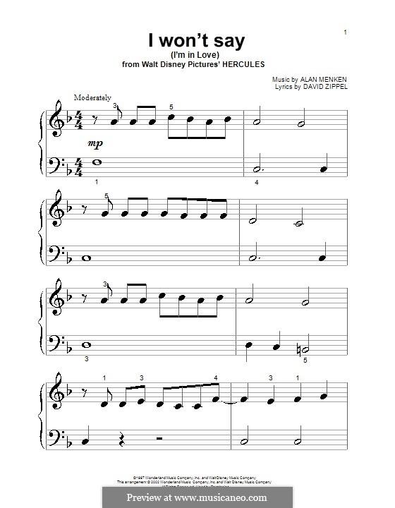 I Won't Say (I'm in Love) from Hercules: Для фортепиано (очень легкая версия) by Alan Menken