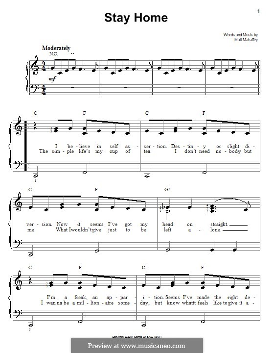 Stay Home (Self): Для фортепиано (легкий уровень) by Matt Mahaffey