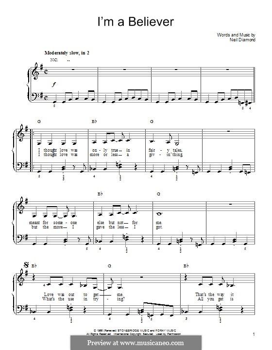 I'm a Believer: Для фортепиано (легкий уровень, с аккордами) by Neil Diamond
