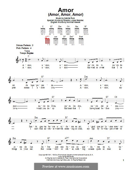 Amor (Amor, Amor, Amor): Для гитары (очень легкая версия) by Norman Newell, Ricardo Lopez Mendez