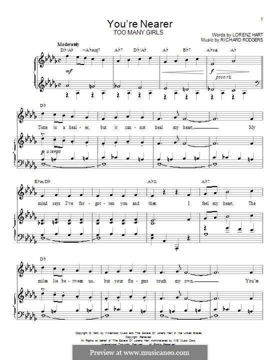 You're Nearer: Для голоса и фортепиано (или гитары) by Richard Rodgers