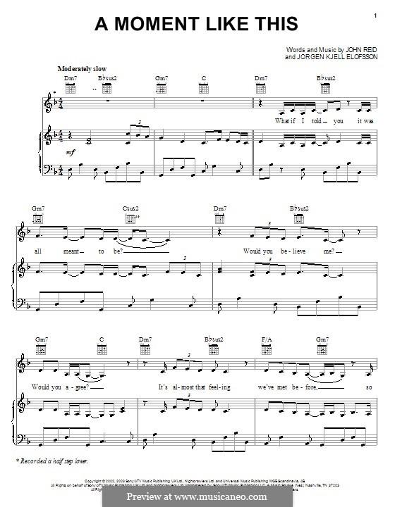 A Moment Like This: Для голоса и фортепиано или гитары (Kelly Clarkson) by John Reid, Jörgen Kjell Elofsson