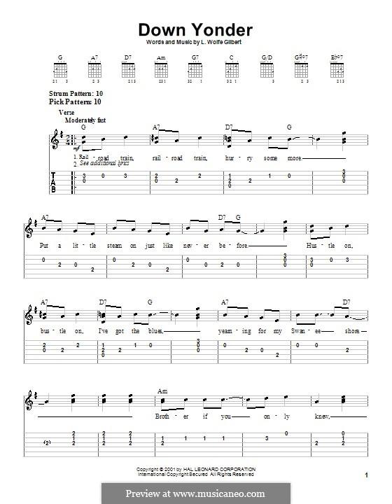 Down Yonder: Для гитары (очень легкая версия) by L. Wolfe Gilbert