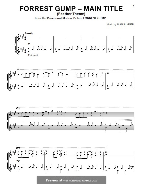 Forrest Gump Suite (Theme): Для фортепиано (ноты высокого качества) by Alan Silvestri