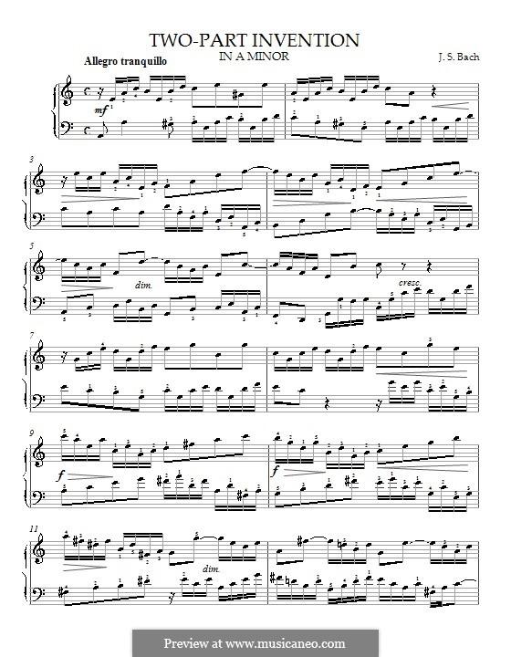 No.13 ля минор, BWV 784: Для фортепиано (с аппликатурой) by Иоганн Себастьян Бах