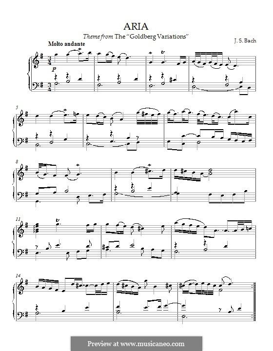 Вариации Гольдберга, BWV 988: Ария, для фортепиано by Иоганн Себастьян Бах