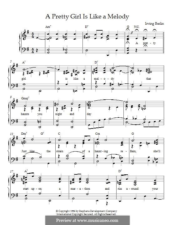 A Pretty Girl is Like a Melody: Для фортепиано by Ирвинг Берлин