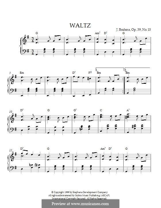 Вальс соль мажор, Op.39 No.15: Для фортепиано (с аккордами) by Иоганнес Брамс