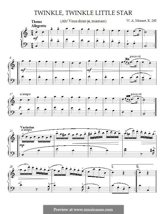 Двенадцать вариаций на тему 'Ah vous dirais-je, Maman', K.265/300e: Для фортепиано by Вольфганг Амадей Моцарт