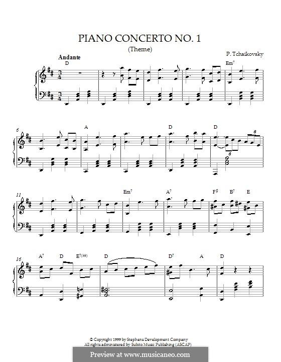 Концерт для фортепиано с оркестром No.1 си-бемоль минор, TH 55 Op.23: Часть I (Тема). Версия для фортепиано (с аккордами) by Петр Чайковский