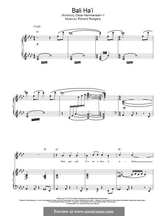 Bali Ha'i: Для голоса и фортепиано или гитары (Charlotte Church) by Richard Rodgers