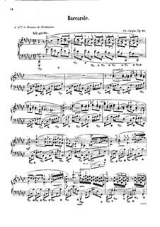 Баркарола фа-диез мажор, Op.60: Для фортепиано (с аппликатурой) by Фредерик Шопен