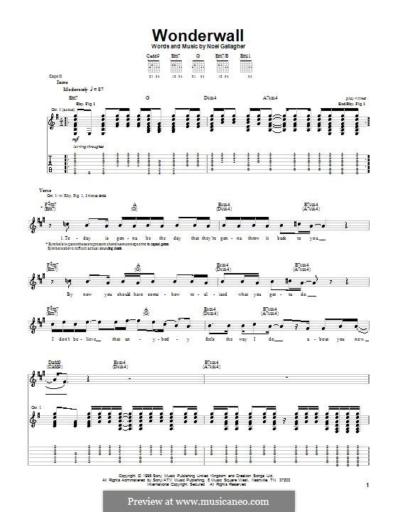 Wonderwall (Oasis): Гитарная табулатура (E Minor) by Noel Gallagher