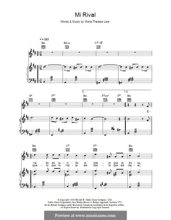Mi Rival (Placido Domingo): Для голоса и фортепиано (или гитары) by Maria Teresa Lara