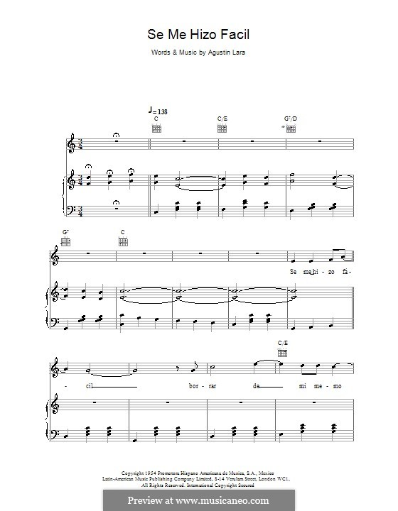 Se Me Hizo Facil (Placido Domingo): Для голоса и фортепиано (или гитары) by Agustin Lara