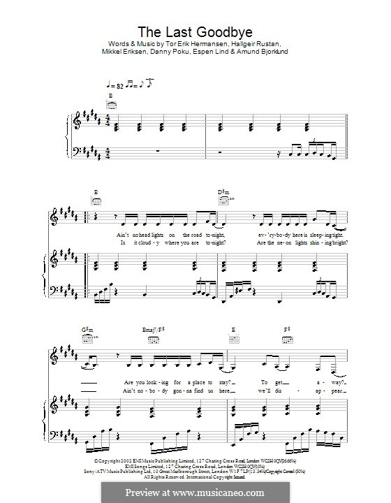 The Last Goodbye (Atomic Kitten): Для голоса и фортепиано (или гитары) by Hallgeir Rustan, Mikkel Storleer Eriksen, Tor Erik Hermansen