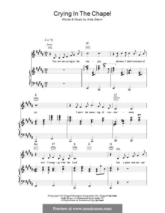 Crying in the Chapel (Elvis Presley): Для голоса и фортепиано (или гитары) by Artie Glenn