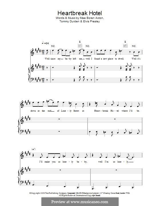 Heartbreak Hotel (Elvis Presley): Для голоса и фортепиано (или гитары) by Mae Boren Axton, Tommy Durden