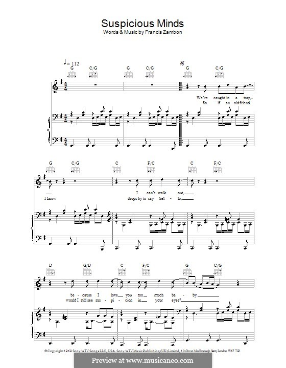 Suspicious Minds (Elvis Presley): Для голоса и фортепиано (или гитары) by Francis Zambon