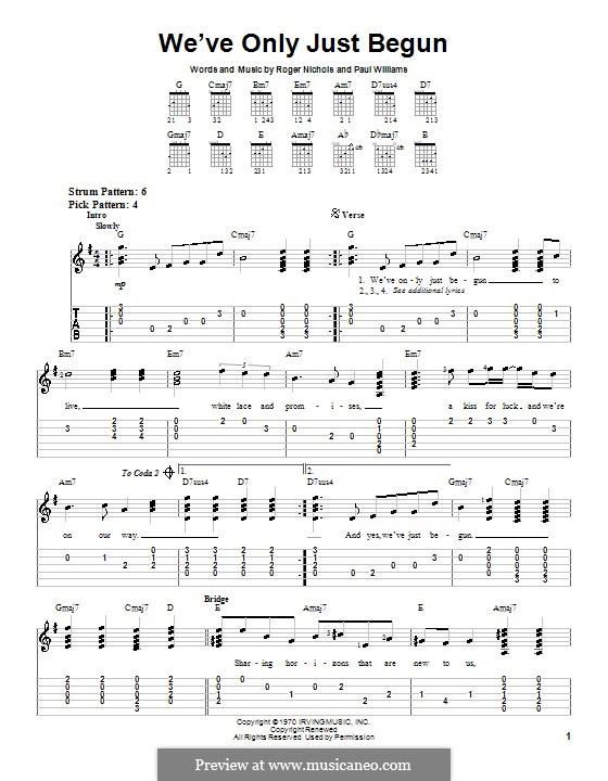 We've Only Just Begun (Carpenters): Для гитары (очень легкая версия) by Paul H. Williams, Roger Nichols