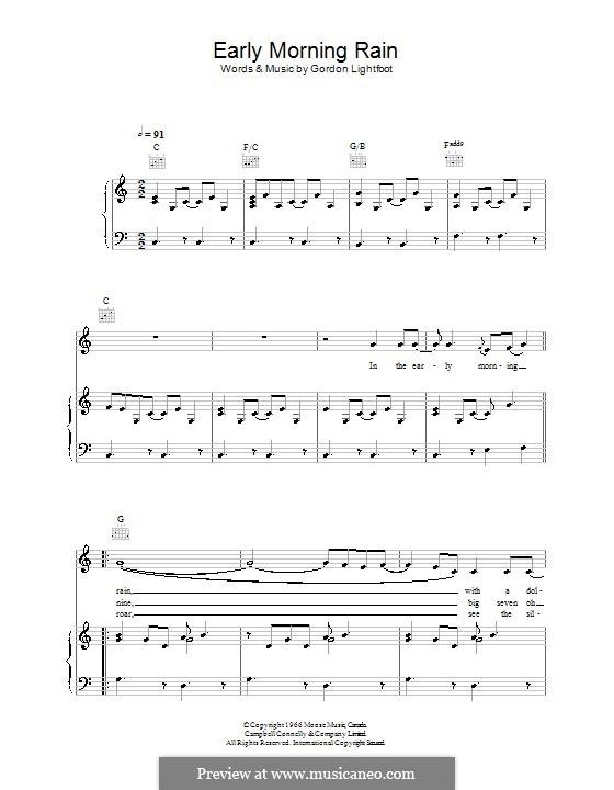 Early Morning Rain (Eva Cassidy): Для голоса и фортепиано (или гитары) by Gordon Lightfoot