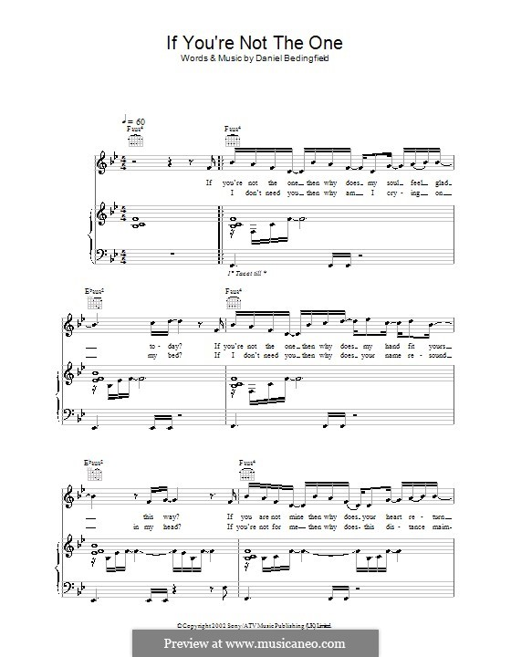 If You're Not The One: Для голоса и фортепиано (или гитары) by Daniel Bedingfield