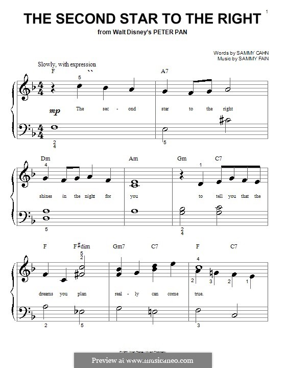 The Second Star to the Right (from Peter Pan): Для фортепиано (очень легкая версия) by Sammy Fain