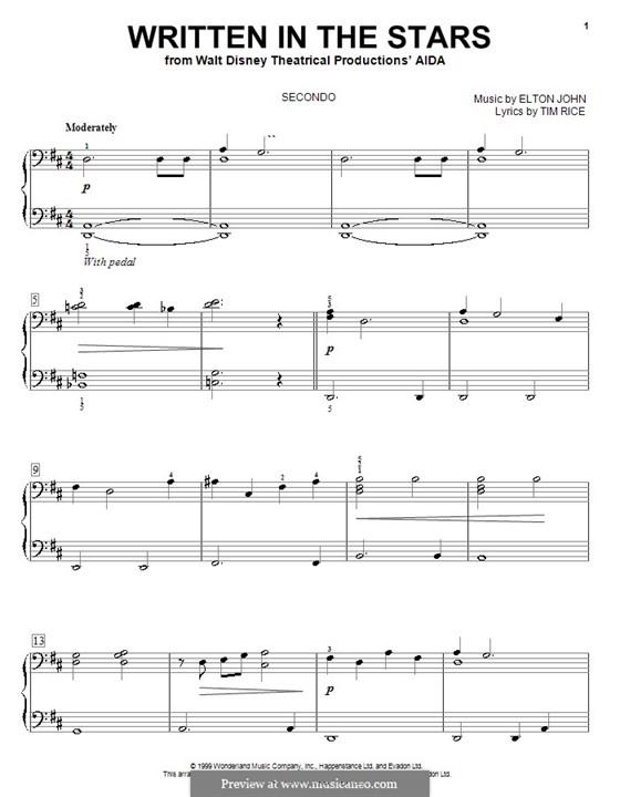 Written in the Stars: Для фортепиано в 4 руки by Elton John