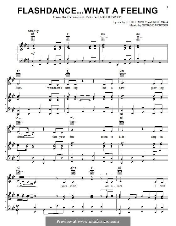 Flashdance (What a Feeling): Для голоса и фортепиано (или гитары) by Giorgio Moroder, Keith Forsey