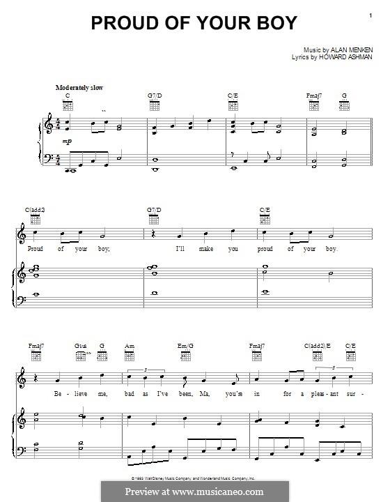 Proud of Your Boy (from Aladdin): Для голоса и фортепиано (или гитары) by Alan Menken