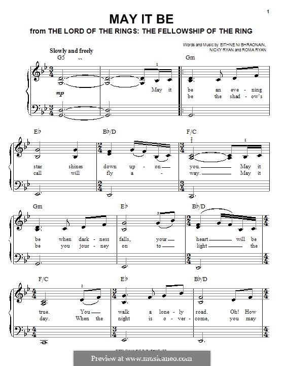 May It Be (Enya): Для фортепиано (легкий уровень) by Eithne Ni Bhraonain, Nicky Ryan, Roma Ryan