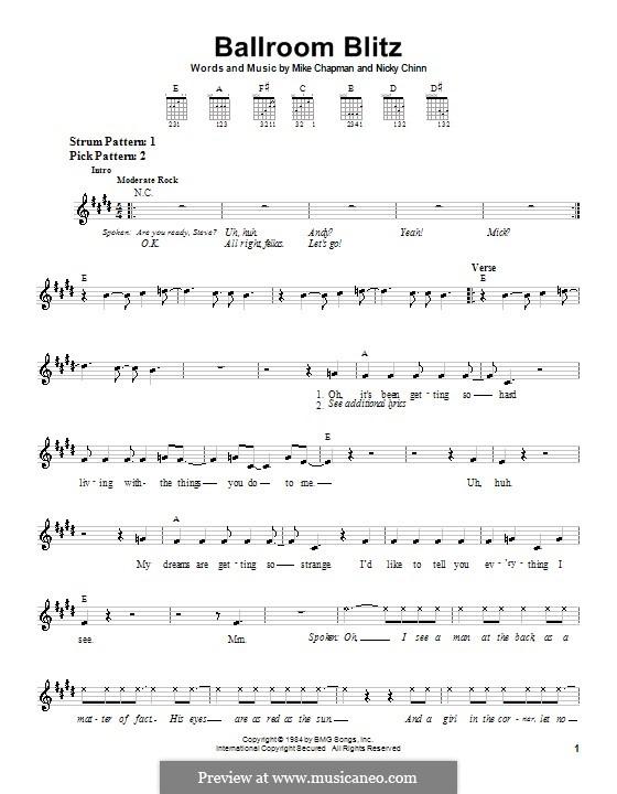 Ballroom Blitz (Sweet): Для гитары (очень легкая версия) by Mike Chapman, Nicky Chinn