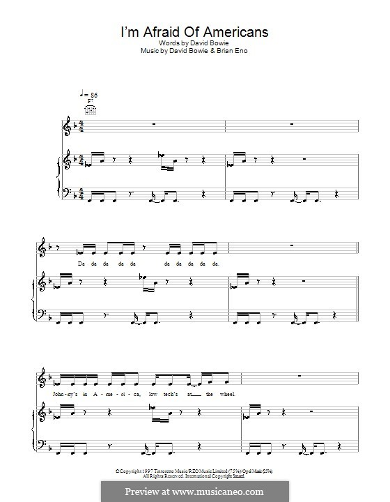 I'm Afraid of Americans: Для голоса и фортепиано (или гитары) by Brian Eno, David Bowie