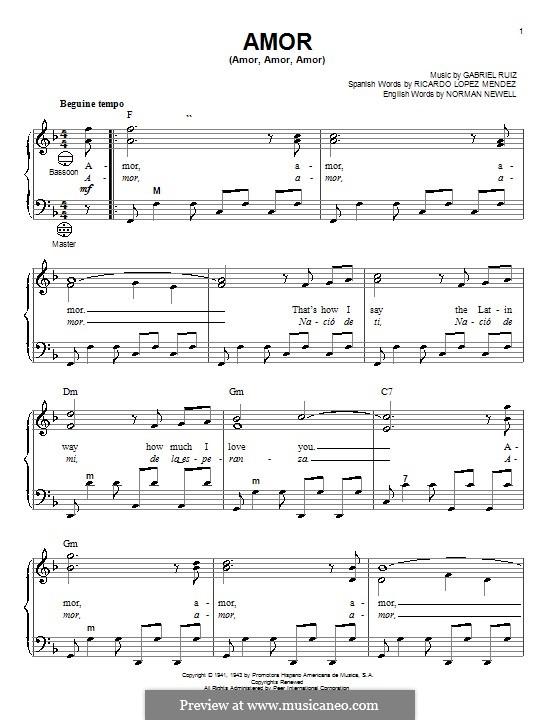 Amor (Amor, Amor, Amor): Для аккордеона by Norman Newell, Ricardo Lopez Mendez
