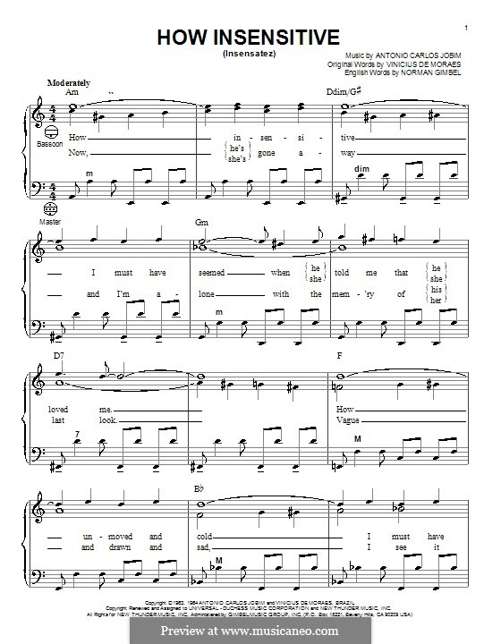 How Insensitive (Insensatez): Для аккордеона by Antonio Carlos Jobim