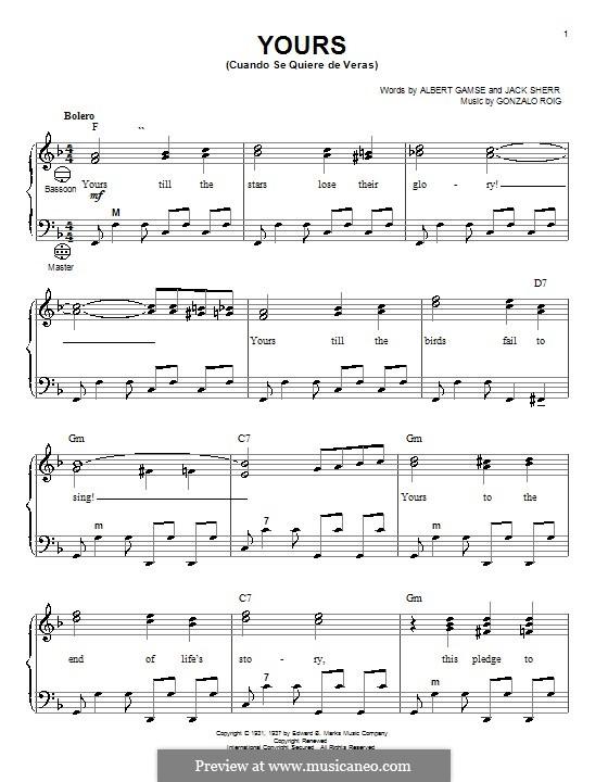 Yours (Cuando Se Quiere de Veras): Для аккордеона by Gonzalo Roig