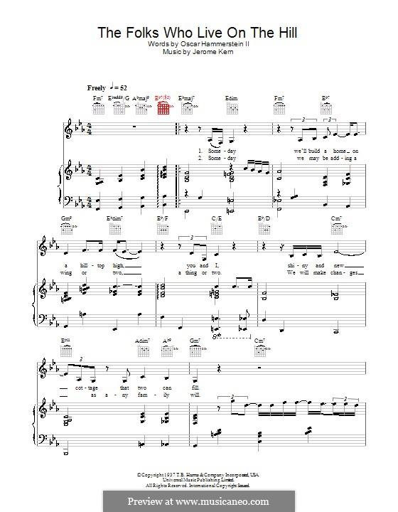 The Folks Who Live on the Hill: Для голоса и фортепиано или гитары (Diana Krall) by Джером Керн