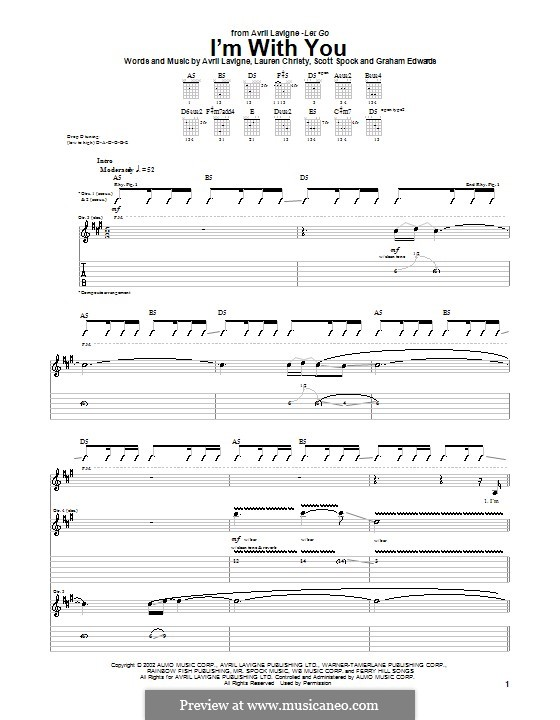 I'm with You: Для гитары с табулатурой by Avril Lavigne, Graham Edwards, Lauren Christy, Scott Spock