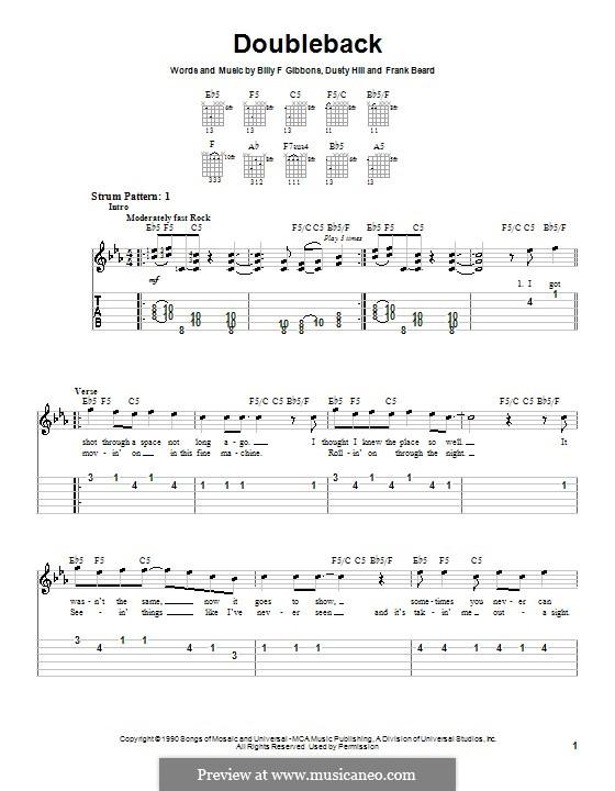 Doubleback (ZZ Top): Для гитары (очень легкая версия) by Billy F Gibbons, Dusty Hill, Frank Lee Beard