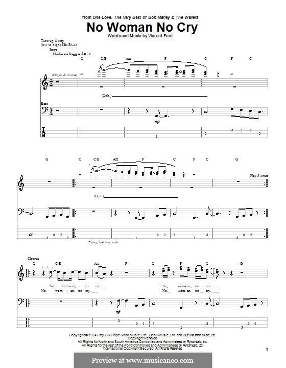 No Woman No Cry (Bob Marley): Для бас-гитары с табулатурой by Vincent Ford