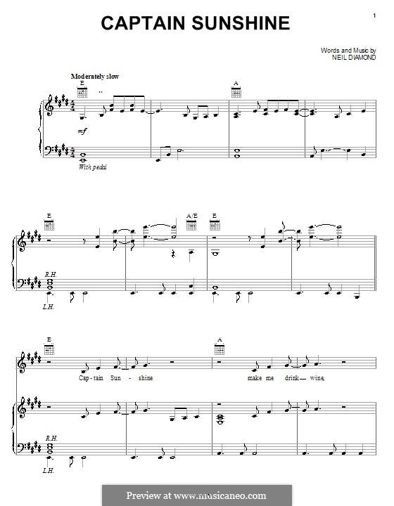 Captain Sunshine: Для голоса и фортепиано (или гитары) by Neil Diamond
