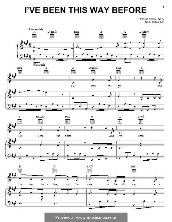 I've Been This Way Before: Для голоса и фортепиано (или гитары) by Neil Diamond
