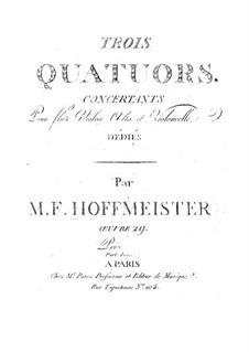 Три концертных квартета для флейты, скрипки, альта и виолончели, Op.29: Партии by Франц Антон Хофмайстер
